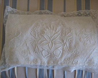 Vintage Normandy Lace Pillow Cover with Insert