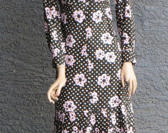 Vintage 1960's Emanuel Ungaro Parallèle-Paris Dress with Pleated Drop Hem and Button Sleeve Cuffs in Floral Pattern Made in Italy