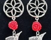 Hummingbird charm earrings