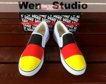 wen original design germany flag vans custom shoes high. Black Bedroom Furniture Sets. Home Design Ideas