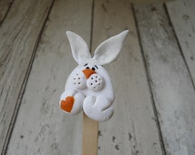 Easter Rabbit Bookmark, Bunny Bookmark, Rabbit Lover Gift, Polymer Clay Rabbit, White Rabbit Art