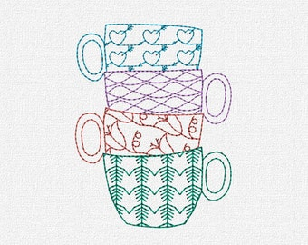Teacups Redwork Machine Embroidery Pattern Design Download 4x4 5x7 Modern