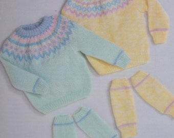 Vintage knitting pattern child's sweater leg warmers sizes 18 to 22 inches pdf INSTANT download pattern only pdf