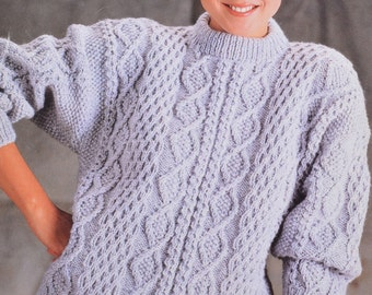 Lady's aran cable sweater pdf jumper adult woman's vintage knitting pattern pdf INSTANT download pattern only pdf 1980s