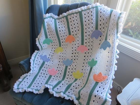 Crochet Pattern For Tulip Afghan : Lacy Tulips Baby Afghan Crochet PDF PATTERN