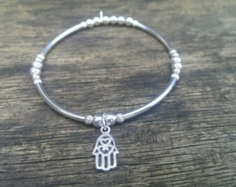 925 Sterling Silver Elasticated Noodle Bracelet with Hamsa hand Charm