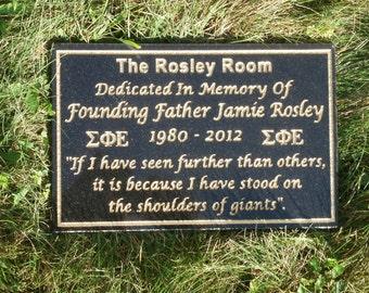 Personalized granite memorial plaque.