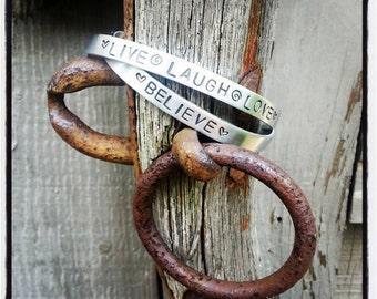 Personalized hand stamped custom bangle bracelet