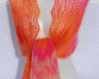 Lacetuch mohair silk scarf silk scarf stole Ajourtuch knit scarf knitted scarf orange pink