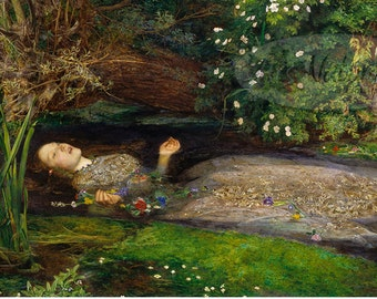 Ophelia John Everett Millais Pre-Raphaelite Print Art Reproduction High Quality