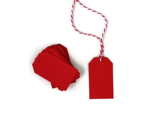 50 Red Parcel Gift Tags | Christmas Gift Tags | Red Gift Tags | Blank Hang Tag