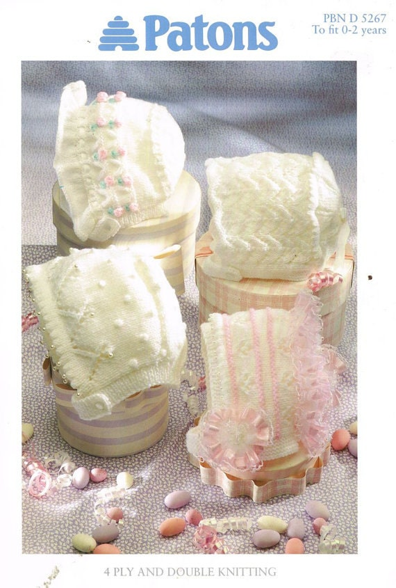 Vintage Knitting Patterns Baby Hats : Patons 5267 four designs baby hat bonnet vintage knitting