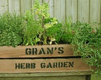 Personalised apple crate herb planter
