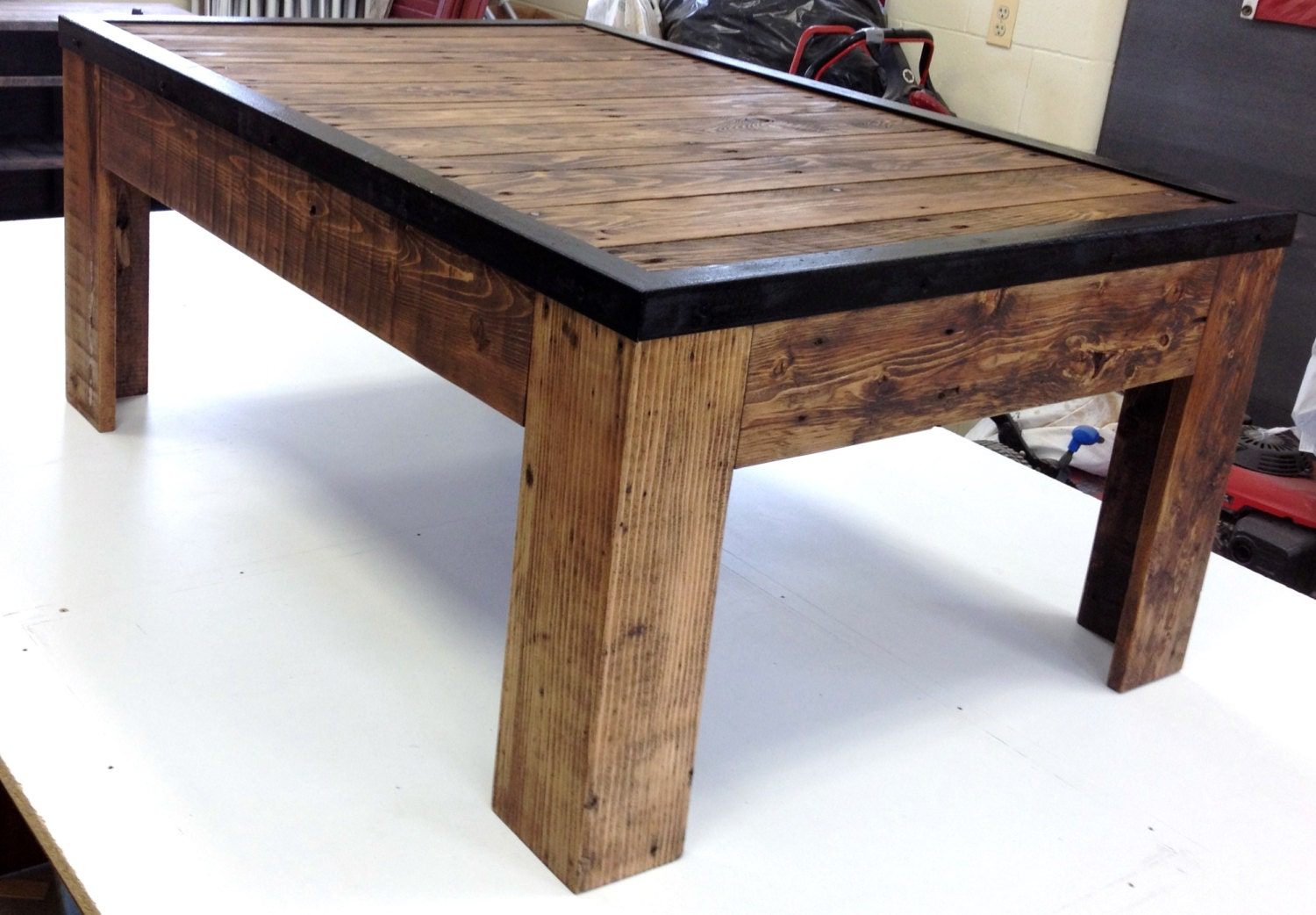 Rustic reclaimed wood and metal coffee table by for Reclaimed coffee table