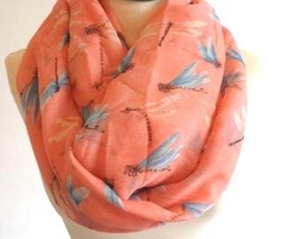 Dragonfly print infinity scarf, women scarf, dragonfly scarf, print scarf women, loop scarf, circle scarf