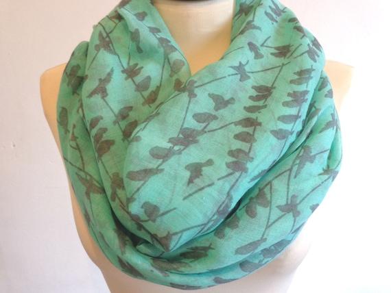 Birds print infinity scarf, spring scarf, bird scarf, print scarf women, loop scarf, mint green scarf