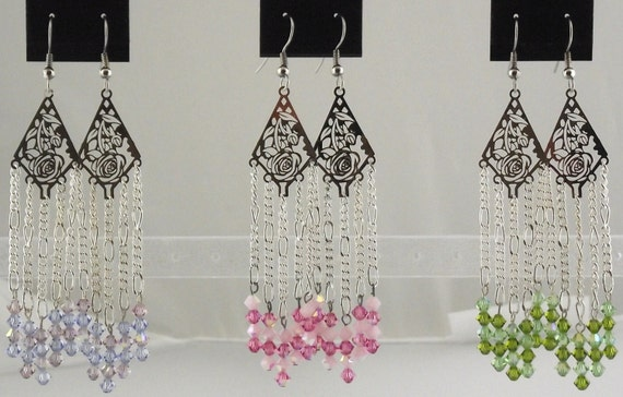 Spring Floral Earrings with Swarovski Crystals
