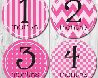 Baby Monthly Stickers, New Mom Gift, Pink Patterns, Bodysuit and one-piece Stickers, Watch Me Grow, Tummy,  Shower Gift