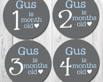 Monthly Boy Stickers Personalized with Name, Milestone Stickers, Baby Month Stickers, Personalized Baby Stickers for Photos, Bodysuit