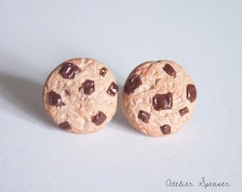 Milk Chocolate Chip Cookie Stud Earrings