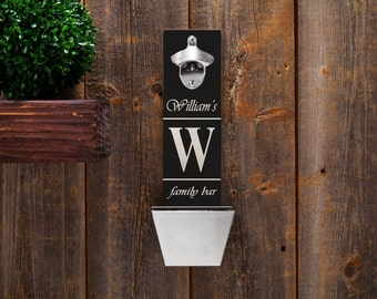 Personalized Wood Mounted Bottle Opener - Bottle Opener Family Bar - GC1225