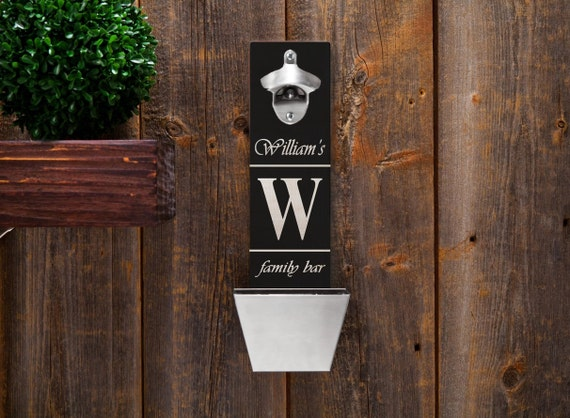 personalized wood mounted bottle opener bottle opener family. Black Bedroom Furniture Sets. Home Design Ideas