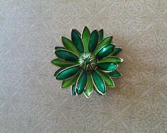 Vibrant Green & Gold Floral Vintage Brooch