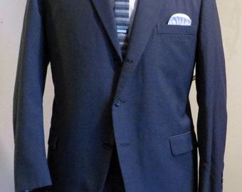 """50's/60's Vintage Men's """"Mad Men"""" Medium Gray 3-Button  """"Townsmen"""" Suit 44R"""