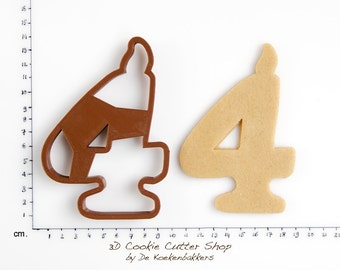 Birthday Candle Number Four Cookie Cutter