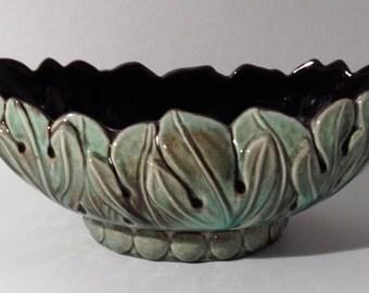 Vintage Ceramic Green Leaf Bowl Planter
