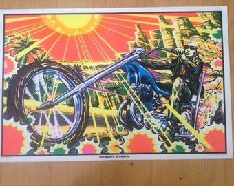Desert Rider Black Light poster 1970's Mint Condition AA Sales Seattle motorcycle