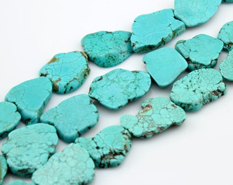 Turquoise Beads,Slab Turquoise Beads,Turquoise Stone,Gemstone Beads---Approx 30mm-40mmm--8 Pieces---S004