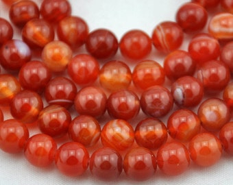 8mm Red Agate Beads,Full Strand,Agate Beads ,Round Agate Beads,Gemstone Beads---About 48 Pieces---14.5inches------M0033