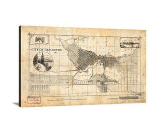 1893 City of Vancouver Large Vintage Map Matte Print