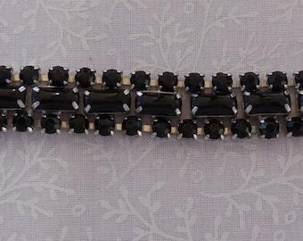 Vintage Jet Rhinestone Bracelet Rodium Setting