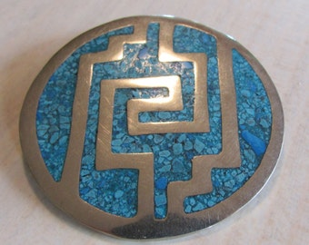 Alpaca Pin/Pendant from Mexico with Turquoise Color Chip Inlay