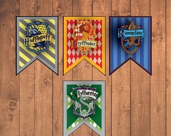 "Harry Potter House Banners 14x11"" Instant Downloadable Printable Decorations"