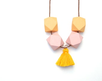 Pastel Orange & Pink Geometric Necklace with Tassel - Geo Necklace - Geometric Wooden Necklace - Geometric Jewelry