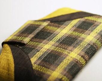 CLEARANCE SALE! Leah Clutch - Handwoven Raffia Clutch in Bold Yellow & Grey Plaid Pattern