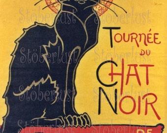 DIGITAL DOWNLOAD 20 x 28 Le chat noir - the black cat Art nouveau, Paris Bohemien yellow