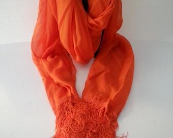 Vintage Guy St. Honore Bright Orange Fringed Scarf