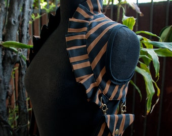Black/ Brown & Black Stripe Ruffle Utility Shoulder Holster w/ Pouches, Reversible to Black, Custom Made