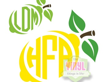 Lemon monogram decal, Lime monogram decal, Monogram sticker, Monogram decal, Vinyl monogram, Lemon decal, Lime decal, multiple sizes