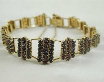Antique Garnet Bracelet Silver Gilded Circa 1880 Austo Hungary