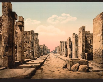 Fortuna Street, Pompeii, Italy ~1890. Colorized photo / photochrom. Vintage reprint postcard, 8x10 and larger available.