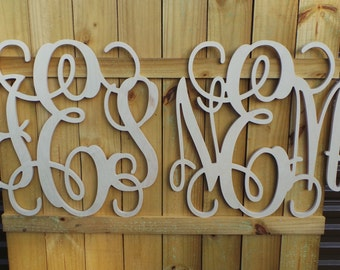 "SALE!!! - Two 24"" Wooden Monograms - Wooden Letters - Wedding Monogram - Vine Script Monogram - Monogram Home Decor - Wedding Monogram"
