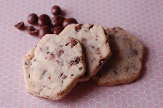 Milk Chocolate Coffee Bean Shortbread Cookies by TheQueenBeeBakery