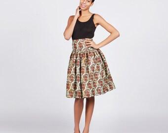 African print skirt, Ankara Print Skirt, Flared skirt, Womens skirt, Ethnic fashion, Afrocentric fashion, Knee length skirt, African skirt