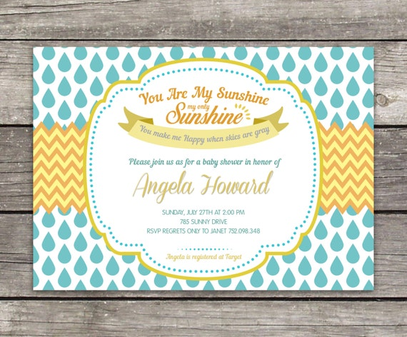 baby girl shower invitation you are my sunshine baby shower