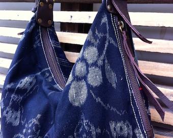 Shoulder Bag Japanese indigo (kasuri) fabric and faux  leather base and handle.